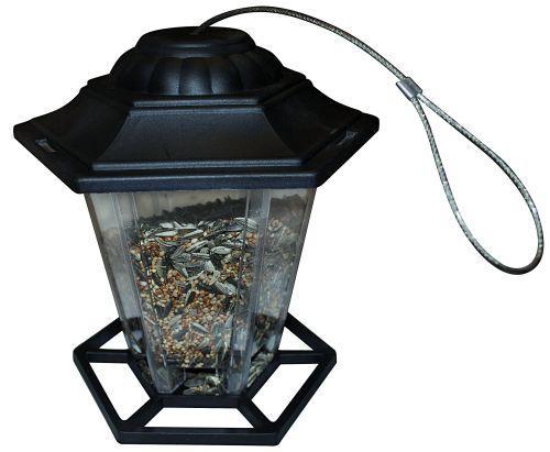 Sekskantet fuglefoderautomat plast til frø 20 cm